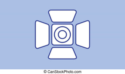 Searchlight Barndoor line icon is one of the Photo and Video icon set. File contains alpha channel. From 2 to 6 seconds - loop.