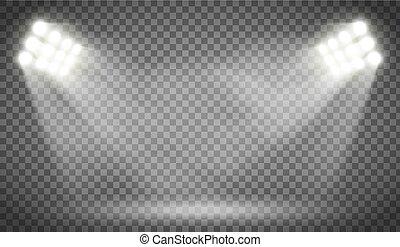 Searchlight illuminates the blank backdrop