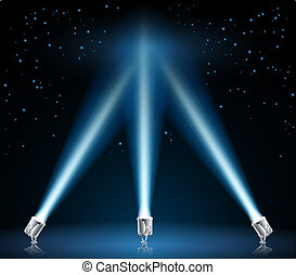 searchlights, o, illustrazione, riflettori
