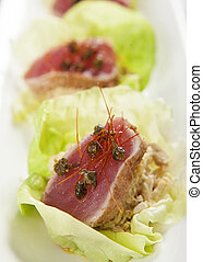 Seared Ahi Tuna in Lettuce Cup