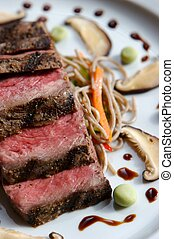 Seared Beef - Seared Japanese Beef cropped on a plate