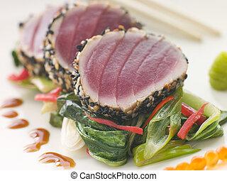 seared, choi, zoet, salmon, ree, gele, sesam, pac, zaden,...