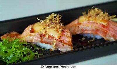 Seared salmon nigiri sushi japanese