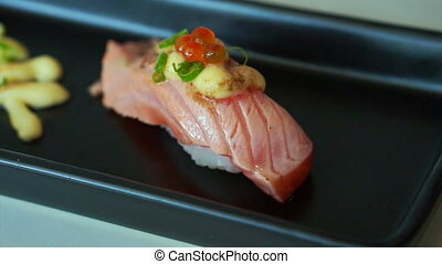 Seared salmon nigiri sushi japanese - Seared salmon nigiri...
