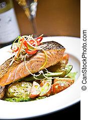 Seared Samon - Seared Salmon with Pesto Potatoes