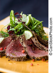 Seared Venison and salad - Seared Venison, Sliced And Served...