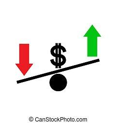 seasaw., échange, fluctuation, concept., dollar, taux