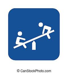 seasaw, symbol, spielplatz, abbildung