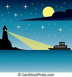 seascape, à noite, com, bote, e, farol