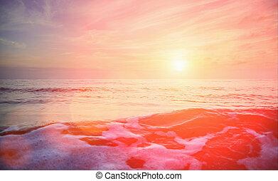 seascape., πάνω , ηλιοβασίλεμα , θάλασσα