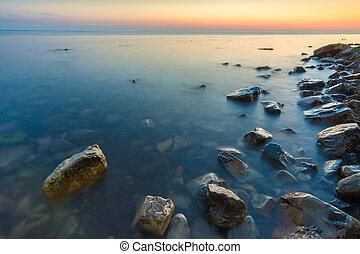 Seascape after sunset, Black Sea, Anapa, Russia