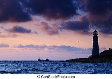Seascape at sunset.