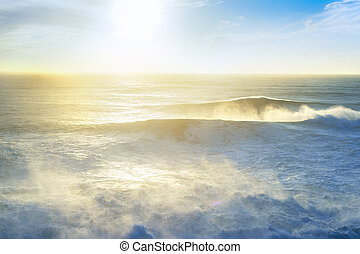Seascape Atlantic ocean sunset Portugal