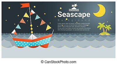 Seascape background with Colorful paper ship 1
