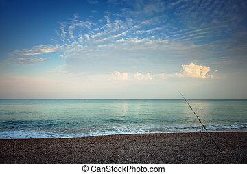 Beach in the morning, fishing