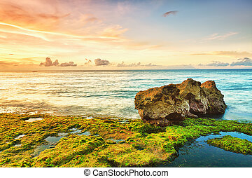 Seascape - Beautiful seascape. Stone on the foreground. ...