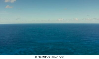 Seascape, blue sea, sky with clouds, aerial view - Blue...