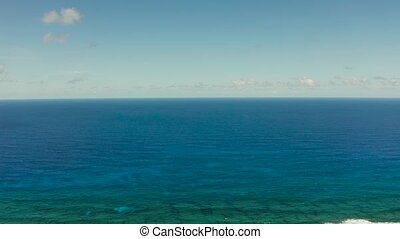 Seascape, blue sea, sky with clouds, aerial view - Surface...