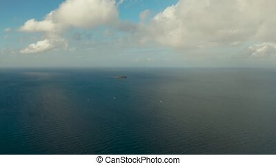 Seascape, blue sea, sky with clouds and islands - Sea...