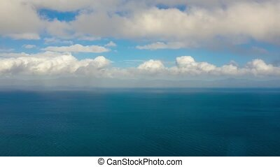 Seascape, blue sea, sky with clouds and islands, Time lapse...