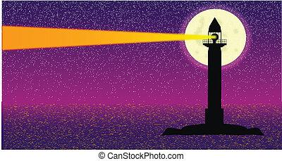 seascape, com, farol, à noite, com, grande, lua