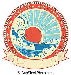 seascape, com, sun.vintage, etiqueta, e, scroll, para,...