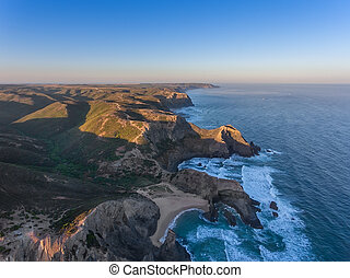 Seascape Costa Vicentina with the air. Portugal Algarve.