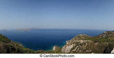 seascape., egeïsch, dodecanese, zee, griekenland, eilanden