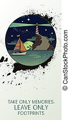 seascape, farol, navegue barco, noturna