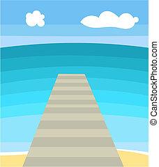 Seascape - Sea bridge. Vector illustration