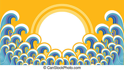 Seascape image with sunlight.Vector image