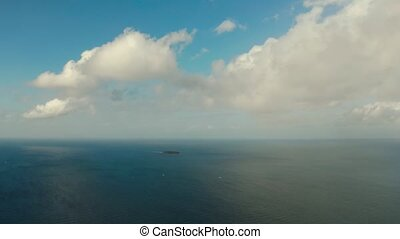 Seascape, island and sky with clouds, Cebu, Philippines. -...