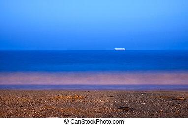 seascape long exposure of Mediterranean sea