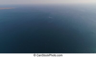 seascape Motorboat on the sea - aerial footage motorboat in...