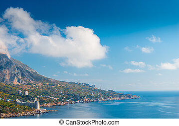 Seascape, mountains and horizon, picturesque view of the Crimean peninsula, Russia
