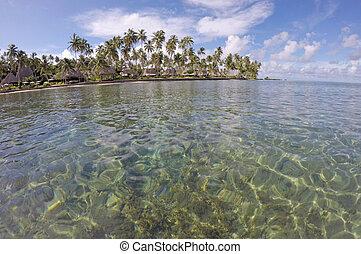 Seascape of a tropical resort in Fiji