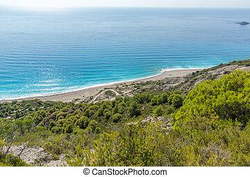 Seascape of Blue Waters of Gialos Beach, Lefkada, Greece