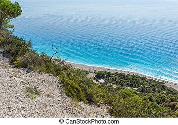 Seascape of Blue Waters of Gialos Beach, Lefkada, Ionian Islands,