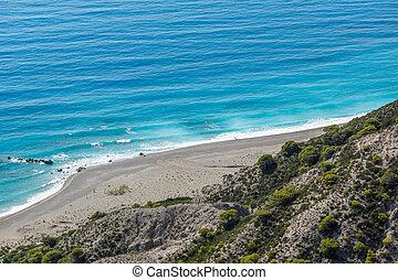 Seascape of Blue Waters of Gialos Beach, Lefkada, Ionian Islands