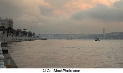 Seascape of Bosphorus strait and view to 15 July Martyrs Bridge on a background of sunset cloudy sky with flying birds.