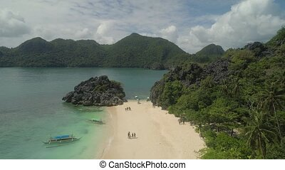 Seascape of Caramoan Islands, Camarines Sur, Philippines. -...