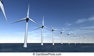 Seascape of offshore wind turbines with a blue sky