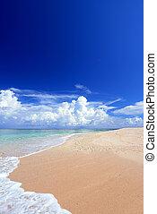 Seascape of Okinawa - Blue sky and a white sandy beach