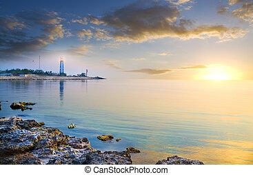 seascape, og, fyrtårn, på, den, shore.