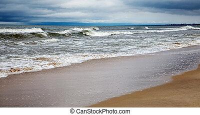 seascape on gloomy autumn day