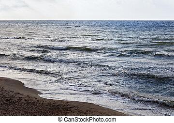 Seascape on the Baltic Sea coast in spring.