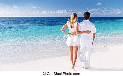 seascape, par, desfrutando, amando