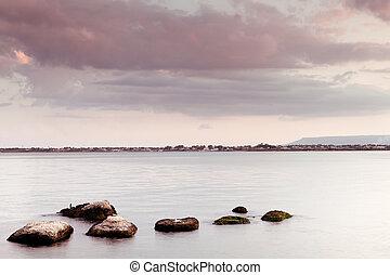 seascape, -, pedras, água, calmo, céu