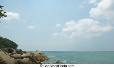 Seascape. - Rocky sea shore in Phuket Island, Thailand....