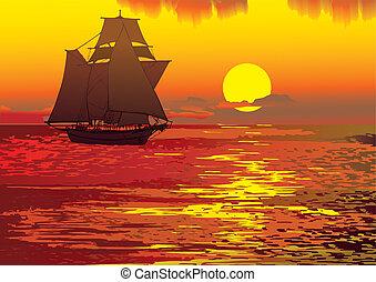 Seascape. - Sailboat in the sea. Vector art-illustration.